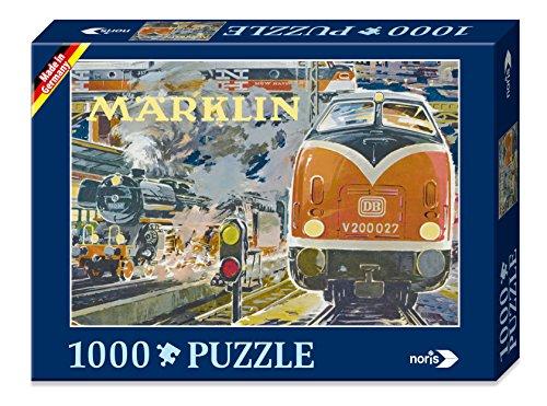 noris 606031333 - Märklin Nostalgie Puzzle am Bahnhof, 1000 Teile