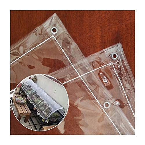 LJIANW-lonas impermeables exterior, Claro Hoja De Vidrio Tarea Pesada Lona Durable Impermeable Lona Alquitranada con Ojales para Cubrir Mueble De Jardín, Cámping, 400G /Metro Cuadrado