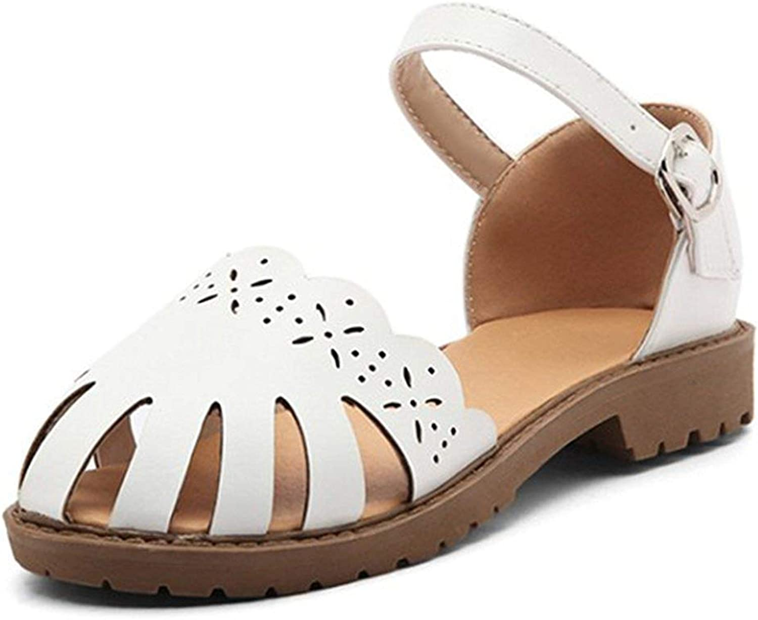 Lelehwhge Women's Comfy Round Closed Toe Cut Out Buckle Ankle Strap Flats Sandals White 8 M US