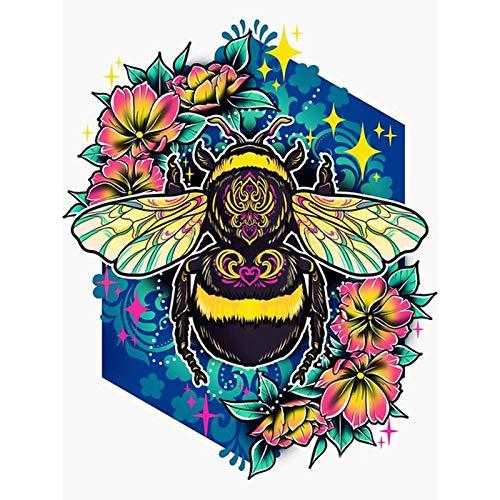 Lazodaer - Kit de pintura de diamante 5D por número, pintura de bordado con diamantes de imitación con diamante redondo completo, decoración del hogar, abeja en flor, 30 x 39,9 cm