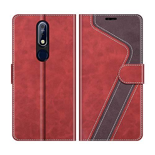 MOBESV Handyhülle für Nokia 7.1 Hülle Leder, Nokia 7.1 Klapphülle Handytasche Hülle für Nokia 7.1 Handy Hüllen, Modisch Rot