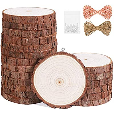 Amazon - 50% Off on Natural Wood Slices 20Pcs 3.5″-4.0″ Unfinished Wood Kit with Screw Eye Rings