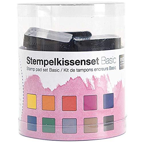 Rico Design Stempelkissen Set Regenbogen - 10 Farben - Stempelpads ideal zum Basteln, Malen, DIY-Projekte & Scrapbooking