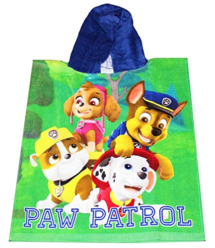Paw-Patrol Nickelodeon Kinder Badeponcho mit Kapuze Poncho 50 x 115 cm, Kinderponcho aus 100% Baumwolle Öko Tex Standard 100