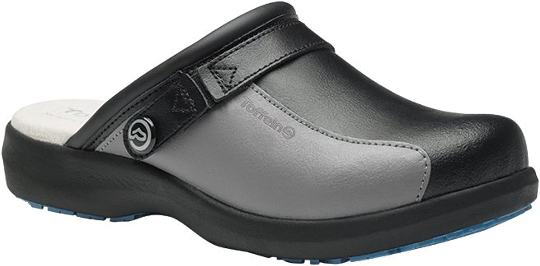 Alexandra Toffeln STC-FW537BG-5 Ultra Lite Clog, Leather, Plain, Size  5, Black Grey