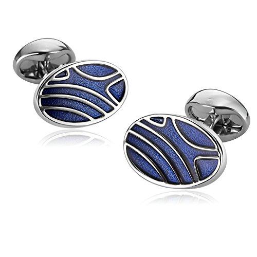 Aimsie Manschettenknöpfe für Herren Edelstahl 1.2×2 cm Oval Welle Cookies Blau Cufflinks für Hemd Hochzeit Tolles Geschenk für Männer