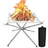 CestMall Portable Outdoor Camping Fire Pit, Fire Pit Outdoor Camping Fire Pit Foldable, Portable Steel Mesh Fire Pits Fireplace for Camping, Outdoor, Patio, Backyard and Garden