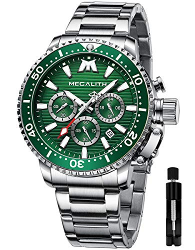 MEGALITH Reloj Hombre Militar Cronógrafo Relojes Hombre Acero Inoxidable Esfera Grande Relojes De Buceo para Hombre Luminosa Impermeable Verde Plateado Reloj Analógico Hombre Fecha