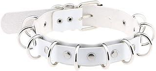 eYLun Women Punk Leather Necklaces Choker Girl Rivet Rock Adjustable Collar Necklaces