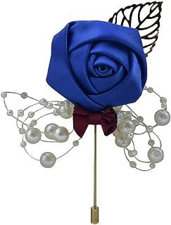 2pcs Fleur Rose Lapel Pin Broche Boutonnière Bâton Mariage Smoking Corsage