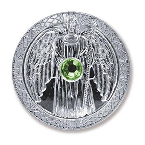 Glücksmünze Schutzengel Engeltaler Erzengel Raphael, Ø 27 mm Taler Silber mit Swarovski Elements, Glücksbringer Talisman Schutzsymbol Glückstaler