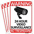 TICONN 4-Pack 24 Hour Video Surveillance Sign, No Trespassing Aluminum Warning Sign, 10x7 Inches Indoor/Outdoor Use for Home Business CCTV Security Camera, Reflective, UV Protected & Waterproof
