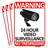 TICONN 4-Pack 24 Hour Video Surveillance Sign, No Trespassing Aluminum Warning Sign, 10x7 Inches Indoor / Outdoor Use for Home Business CCTV Security Camera, Reflective, UV Protected & Waterproof