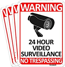 TICONN 4-Pack 24 Hour Video Surveillance Sign, No Trespassing Aluminum Warning Sign, 10''x7'' for CCTV Security Camera - Reflective, UV Protected