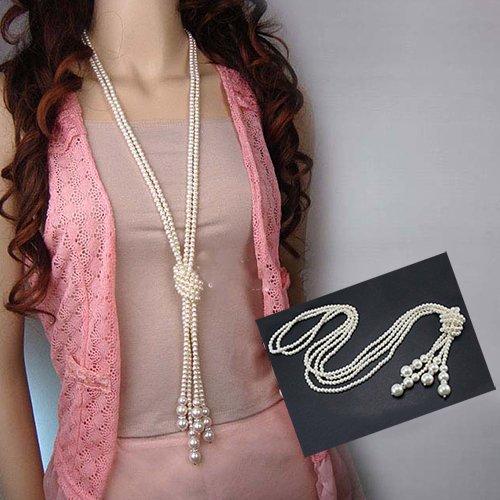 Baost Women Elegant Faux Pearl Tass…