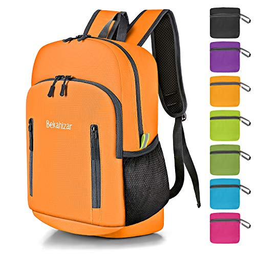 Bekahizar 20L Ultra Light Weight Backpack Foldable Hiking Daypack Rucksack Water Resistant Travel Day Bag for Men Women Kids Outdoor Camping Mountaineering Walking Cycling Climbing (Orange)