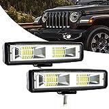JoaSinc Focos LED Tractor, 6' 60W 6000LM Faros Trabajo LED 12V 24V Barra LED Spotlight IP67 Impermeable Luz de Niebla para Coche, SUV, UTV, ATV, Off-road, Camión, Moto, Barco, Garantía de 1 años