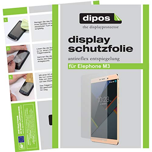 dipos–Protector de pantalla compatible con Elephone M3(6unidades, antirreflectante), mate