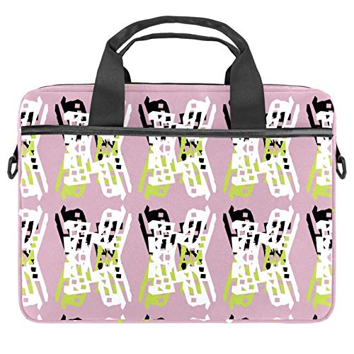 Laptoptasche / Umhängetasche für Apple MacBook 13,4-14,5 Zoll, Leinenmuster, Grün / Schwarz / Weiß