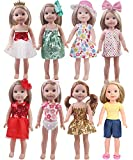 14 'Doll Clothes Girl Gift-Includes 8 Doll Sets + 6 Headdresses for American Girl Dolls Wellie wishers or Hearts