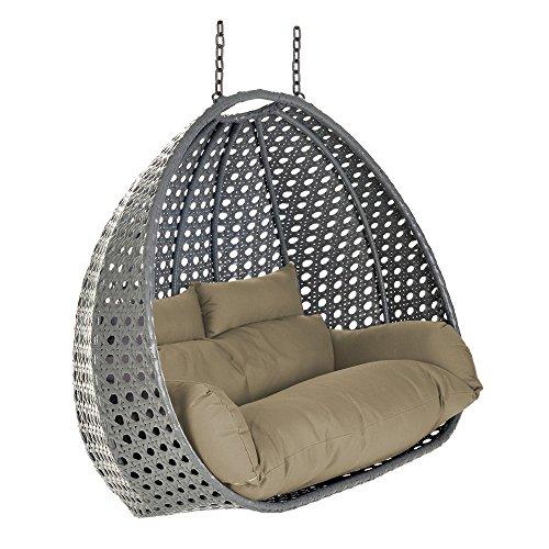 Home Deluxe – fotel wiszący z polirattanu – kosz Twin szary – w zestawie z poduszkami na siedzisko i oparcie.