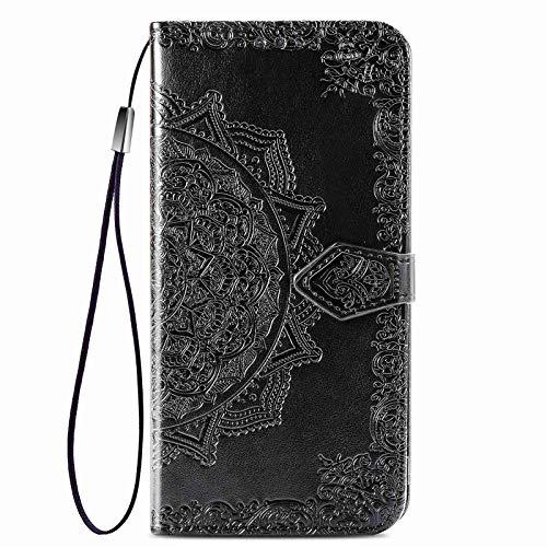 GOGME Cover per Vivo Y70 Cover, Custodia Chiusura Magnetica Flip Case Stile, Pelle PU Mandala Sbalzato con Supporto di Stand/Carte Slot. Nero