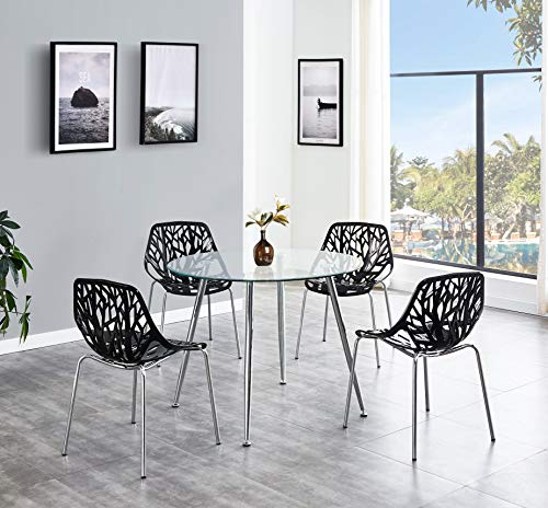 SALBAY Chrome Metal Round Thicken Glass Dining Table And 4 Black/White Fashion Dining Chairs (1 Table+4 Chairs(Black))