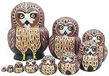 Zfggd 1 Set 10 piezas de tema lindo búho animal de madera de apilamiento Nacimiento hecho a mano de la jerarquización de Matryoshka regalos de juguetes de niños