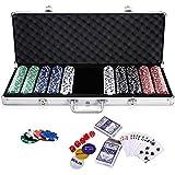 HJCC Playing Cards Mit 500 Clay Pokerchips, Inkl. 2X Pokerdecks, 5X Würfel, Dealer Button, Big...