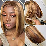 Tinashe 3×6 Lace Closure Straight Wigs Highlight Bob Wigs Human Hair For Black Women Piano Color Ombre Lace Front Wigs Human Hair Pre Plucked 150% Density (12 inch, 3x6 lace wig 4/27)