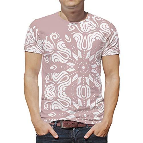 XJJ88 Misty Rose Mandala para hombre Bohimian Camiseta para niños y niñas de verano - Impresión blanca transpirable y cómoda camiseta Blanco blanco XXL