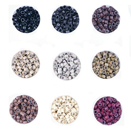 KOCONI 500 Pcs Silicon Micro Ring Silicon Rings Micro Links (5.0X3.0X3.0) Beads Silicone lined Micro Rings Beads Color #3 Dark Brown
