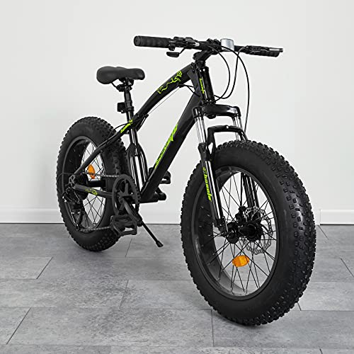 hosote Fat Tire Mountain Bike Snow Bike Beach Bike for Teens and Adults, 20 Inch 7 Speed Carbon Steel Frame MTB, Suspension Fork Mountain Bicycles, Black [US in Stock]