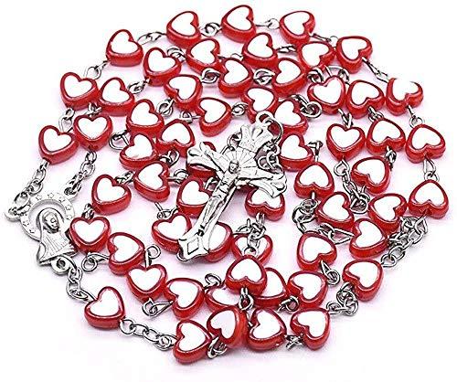 LKLFC Collar para Mujeres Hombres Corazón Rojo Amor Cruz Rosario Collar Nuestra Señora de Cristo Religioso Aula Suministros de oración RecuerdosCollar Colgante Niñas Niños Regalo