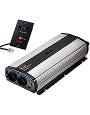 AEG Automotive 97121 Sinus-Convertidor de Voltaje SW 1000 W, 12 V a 230 V, con Pantalla LCD , Cargador USB, Módulo de Control Remoto y Función de Control de Batería