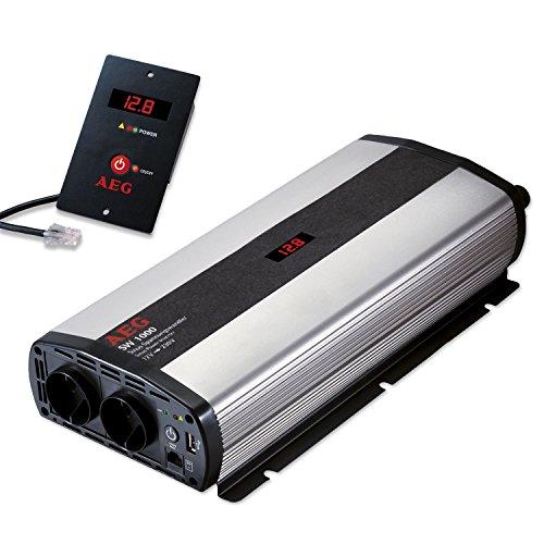 Oferta de AEG Automotive 97121 Sinus-Convertidor de Voltaje SW 1000 W, 12 V a 230 V, con Pantalla LCD , Cargador USB, Módulo de Control Remoto y Función de Control de Batería
