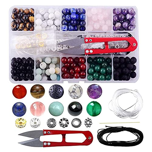 Yousiju Juego de caja de cuentas de gema 240 piedras sueltas redondas natural amatista lava mezcla color mezclado joyería haciendo kit de herramientas