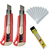 WEKOIL Utility Knives Retractable Box Cutter,18mm Wide Snap Off Blade Knife 2 Pack,12 Carbon Steel Blades,Hobby Art Paper Knives with Comfortable Handle,Heavy Duty for Office Home Warehouse,Red