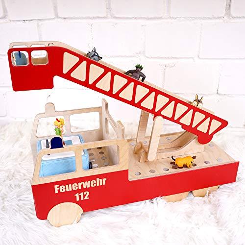 Regal für Toniebox, Feuerwehr Feuerwehrauto Tonieregal mit Name, Aufbewahrung für Tonies, Halterung für Toniefiguren, Motiv: Leiterwagen