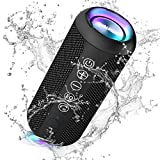 Ortizan Bluetooth Speaker, IPX7 Waterproof Portable Wireless Outdoor Speakers with LED Light, 24W