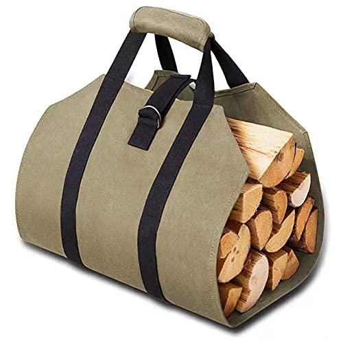 Legna da ardere di carry carry borsa durevole canvas da legna da ardere di carry carry borsa con due manici a legna da ardere sacchetto di stoccaggio all'aperto sacchetto di archiviazione all'aperto