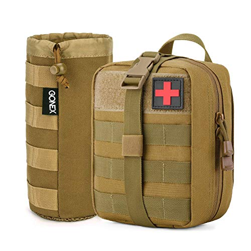 Gonex MOLLE Water Bottle Pouch with First Aid Medical Bag for Outdoor Activities(Bag Only)