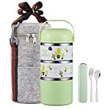 YBOBK HOME Cute Bento Lunch Box with Flatware Set Stackable Lunch Box...