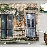 Cortina de ducha con paisaje rústico, puerta antigua y ventana con pared de ladrillo viejo para baño de tela de poliéster de 180 x 180 cm