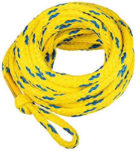 MESLE Schleppleine 6P 60', schwimmendes Schlepp-Seil für 6-Personen, gelb-blau, Länge 18,3 m, Polyethylen, Zug-Seil, Schwimmfähig, jeweils Auge an Enden, Fun-Tube, Tow-able, Ringo