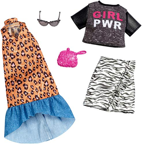 Barbie Clothes FXJ65 2 Outfits for Barbie Doll Feature Girl Power Tee and Animal Prints on Long Dress and Ruffled Skirt