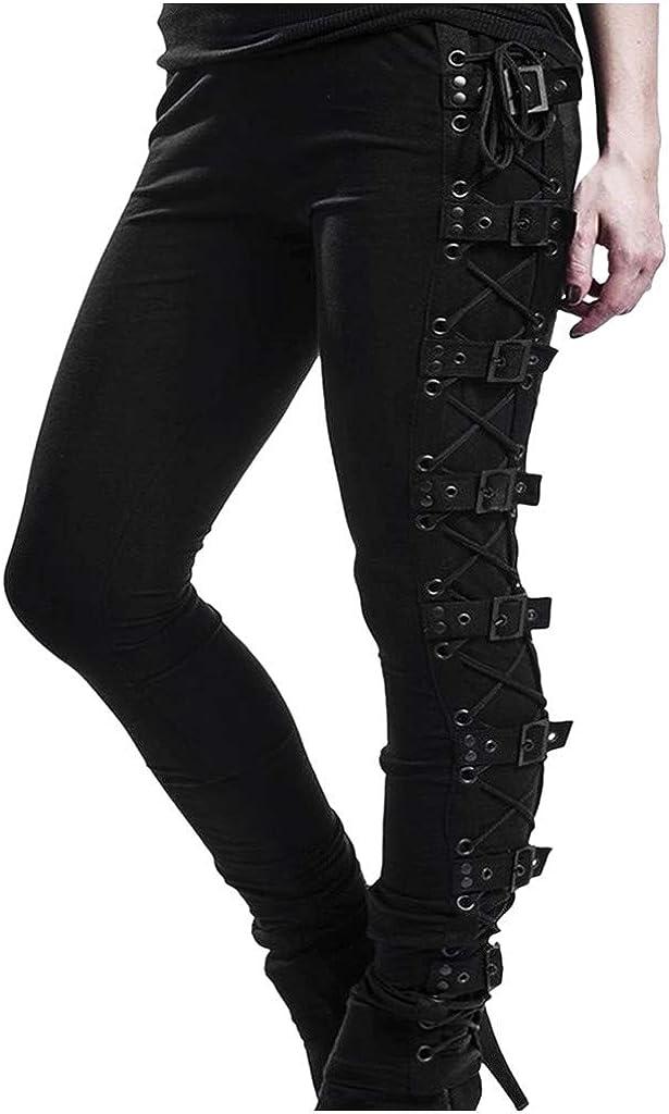 Womens Gothic Leggings, F_Gotal Women's Punk Ripped Leggings Gothic Tattered Broken Close-Fitting Hip Hop Mesh Leggings