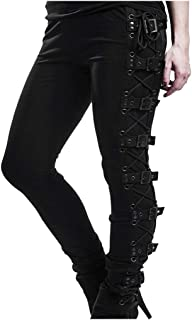 Plus Size Womens Pants Gothic Criss Cross Lace Up Buckle Strap Skinny Leggings Steampunk Ladies Trouser