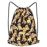 antkondnm Black Golden Retriever Dog Puppy Drawstring Bag Backpack Sackpack Gym Sack Sport Beach Daypack Gifts for Men & Women