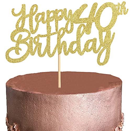 XCOZU Happy 40th Birthday Cake Toppers, 3 Piezas Oro Decoración para Tarta para Niñas Niños Mujeres Hombre Decoración de Pastel Cumpleaños, Cake Cupcake Topper Suministros de Purpurina para Fiestas